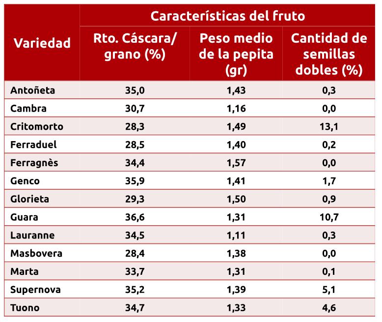 Características del fruto del almendro